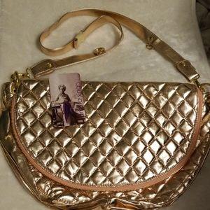 NWT amrita singh Metallic Champagne Messenger Bag